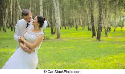 danse, couple, mariés, extérieur