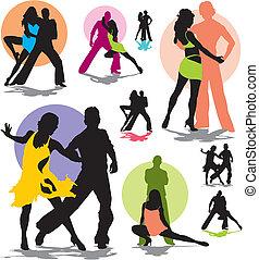 danse, couple, vecteur, ensemble, silhouettes