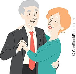 danse, couples aînés, illustration, citoyen