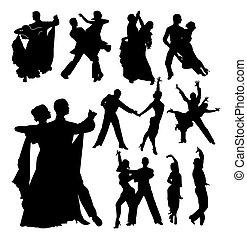 danse, couples., ensemble, de, noir, vecteur, grands traits