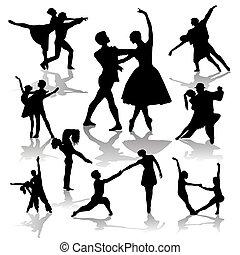 danse, couples, vecteur, silhouettes., collection, illistration
