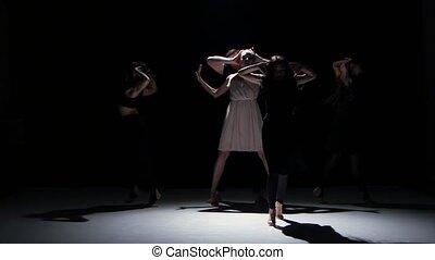 danse, danseurs, contemporain, cinq, noir, ombre, mouvements