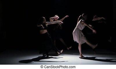 danse, danseurs, contemporain, cinq, performance, noir, ombre
