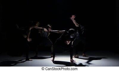danse, danseurs, contemporain, continuer, cinq, performance, noir, ombre