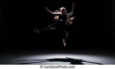 danse, danseurs, contemporain, une, performance, noir, ombre, sensuelles