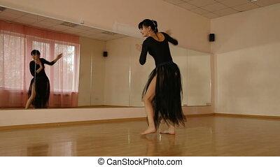 danse, devant, miroir