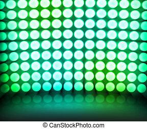 danse, disco allume, arrière-plan vert, étape