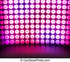 danse, disco allume, fond, violet, étape