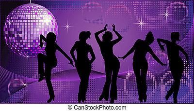 danse, disco, silhouettes, cinq, fond, femmes