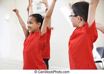 danse, ensemble, groupe, apprécier, classe, enfants