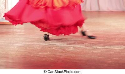 danse, espagnol, étape