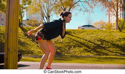 danse, exécuter, sports, danseur, field., professionnel féminin, mouvement