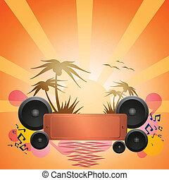 danse, exotique, flyer., musique, disco