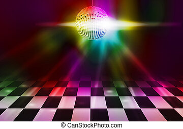 danse, fête, disco, fond, plancher