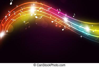 danse, fête, multicolore, musique, fond