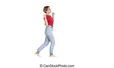 danse femme, avoir, arrière-plan., amusement, blanc, sourire heureux