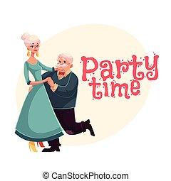 danse femme, bannière, affiche, invitation, conception, vieux, dessin animé, homme