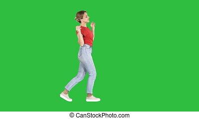 danse femme, chroma, écran, vert, key., amusement, sourire, avoir, heureux