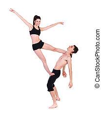 danse femme, couple, exercisme, fond, fitness, blanc, homme