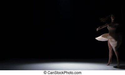 danse femme, danse, contemporain, jeune, mouvements, danseur, noir, ombre