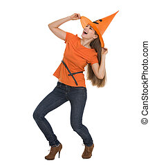 danse femme, halloween, jeune, chapeau, heureux