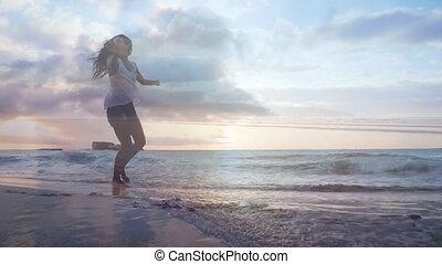 danse femme, plage