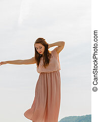 danse femme, porter, long, lumière, robe rose