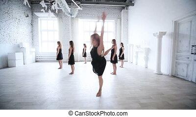 danse, femmes, clip., équipe