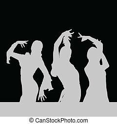 danse, fille noire, flamenco, silhouette