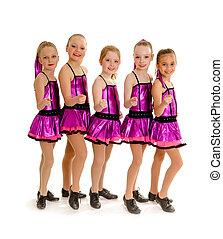 danse, filles, robinet, junior, équipe