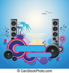 danse, flyer., disco, exotique, musique, nuit