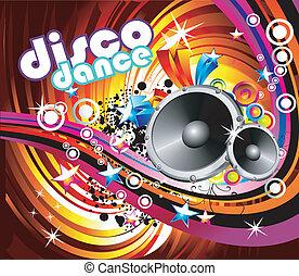 danse, fond, disco
