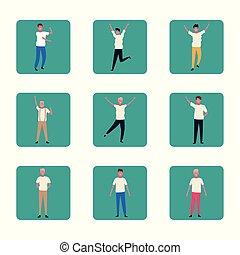 danse, gens, ensemble, coloré, amusant, conception