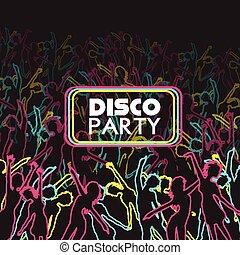 danse, gens, fête, foule