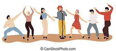 danse, gens., heureux