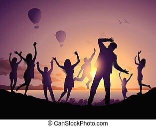 danse, gens, illustration, silhouettes, plage, heureux