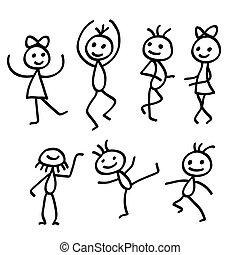 danse, gens, isolé, fond, blanc, dessin animé