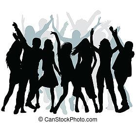 danse, gens, silhouette
