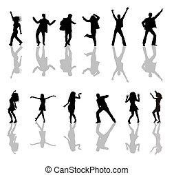 danse, gens, silhouettes