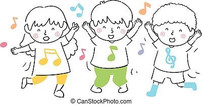 danse, gosses, illustration, chanter