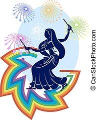 danse, indien, garba