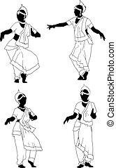 danse, indien, silhouette