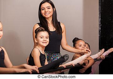 danse, instructeur, classe, heureux
