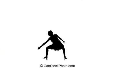 danse lente, danse, silhouette, contemporain, mouvement, danseur, blanc, gracieux, girl