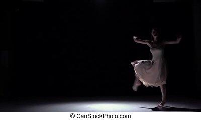 danse lente, danseur, contemporain moderne, mouvement, continuer, noir, girl, robe, blanc, ombre