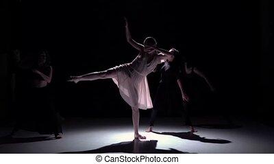danse lente, danseurs, contemporain, mouvement, cinq, aller, noir, ombre