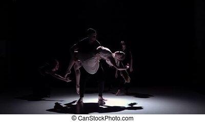 danse lente, danseurs, contemporain, mouvement, cinq, noir, ombre