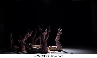 danse lente, danseurs, contemporain, mouvement, début, cinq,...