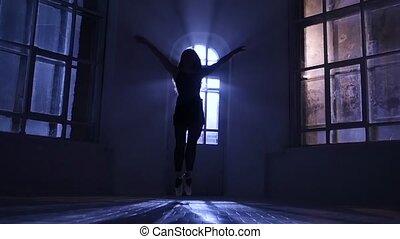 danse lente, sauts, contemporain, danse, mouvement, gracieux, girl, silhouette.