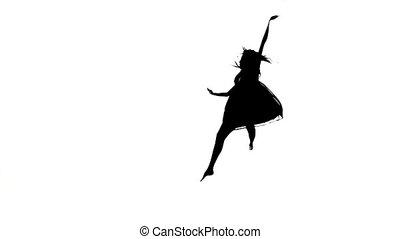 danse lente, sauts, contemporain, silhouette, mouvement, danseur, danse, blanc, gracieux, girl